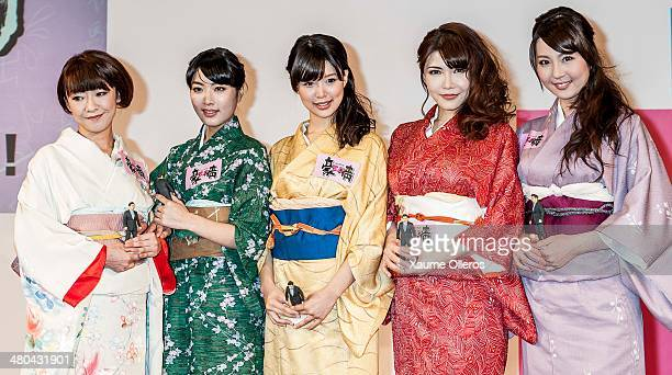 A japanese selection of the cast attend Naked Ambition 3D Press conference with the during 38 Hong Kong Film Festival 2014 at Hong Kong Convention...