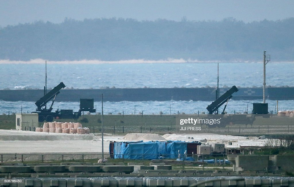 Japanese Self-Defense Force ground-based Patriot Advanced Capability-3 (PAC-3) interceptors are seen in position on the grounds in Ishigaki, Okinawa prefecture on February 7, 2016. North Korea launched a long-range rocket on February 7, 2016 in defiance of warnings from the US and South Korea, Seoul's military said. JAPAN OUT AFP PHOTO / JIJI PRESS / AFP / JIJI PRESS / JIJI PRESS