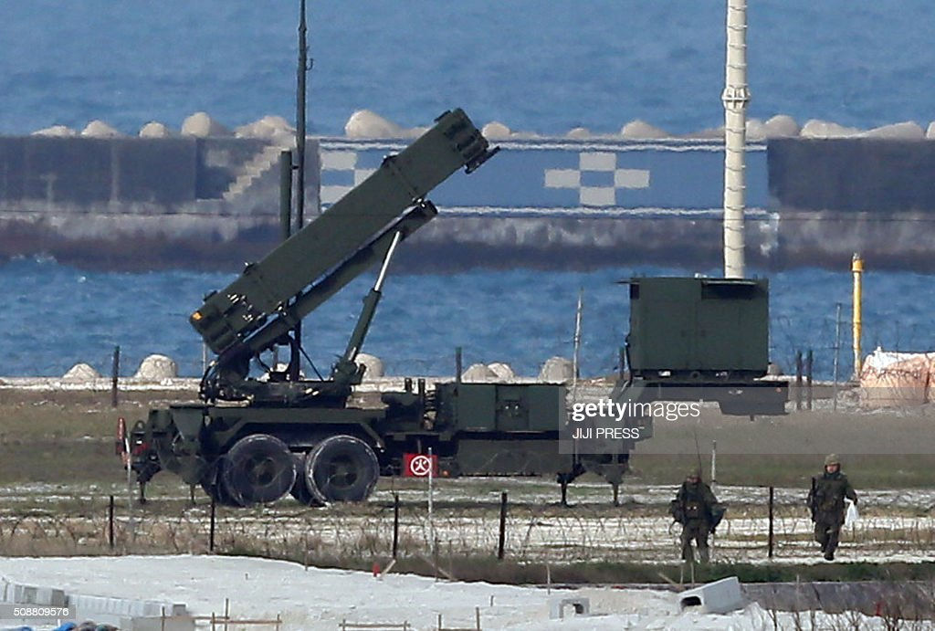 A Japanese Self-Defense Force Patriot Advanced Capability-3 (PAC-3) interceptor launcher is deployed at Ishigaki island in Japan's southern island of Okinawa on February 7, 2016. North Korea launched a long-range rocket on February 7, violating UN resolutions and doubling down against an international community already determined to punish Pyongyang for a nuclear test last month. AFP PHOTO / JIJI PRESS JAPAN OUT / AFP / JIJI PRESS / JIJI PRESS
