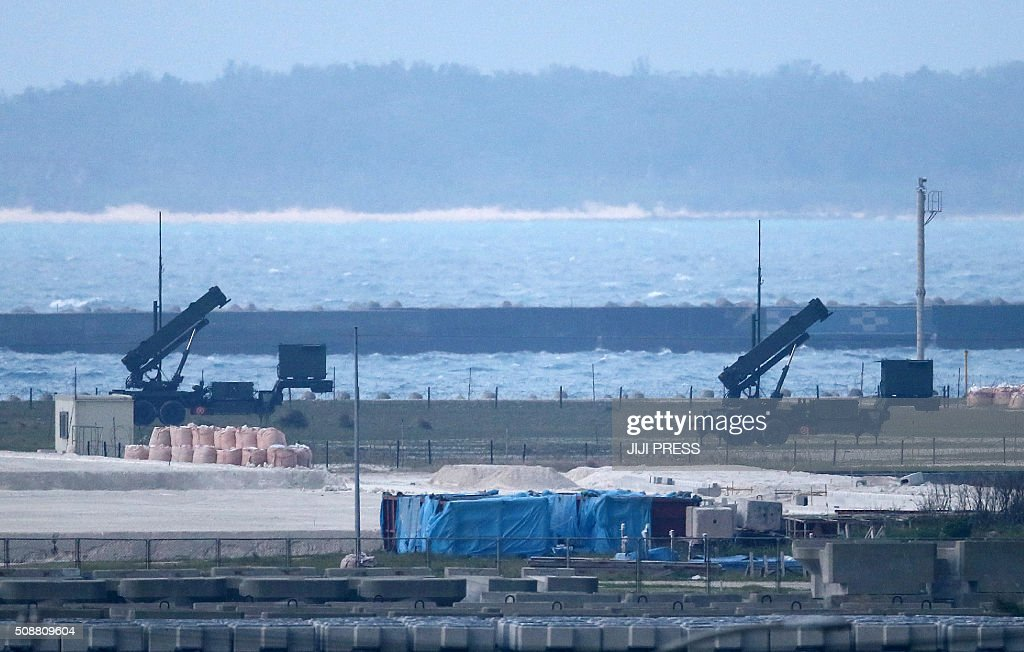 Japanese Self-Defense Force Patriot Advanced Capability-3 (PAC-3) interceptor launchers are deployed at Ishigaki island in Japan's southern island of Okinawa on February 7, 2016. North Korea launched a long-range rocket on February 7, violating UN resolutions and doubling down against an international community already determined to punish Pyongyang for a nuclear test last month. AFP PHOTO / JIJI PRESS JAPAN OUT / AFP / JIJI PRESS / JIJI PRESS