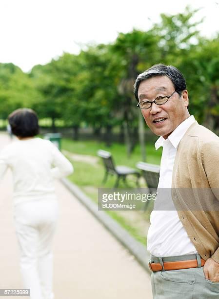 Japanese senior man smiling