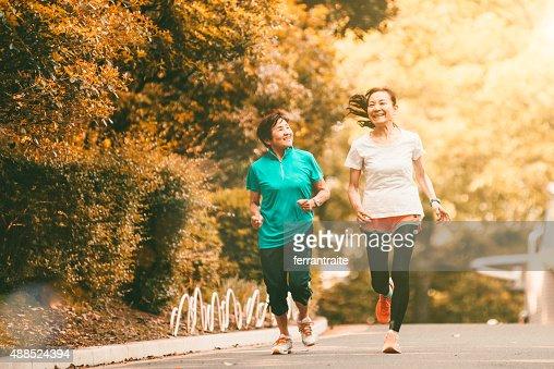 Japanese senior women running