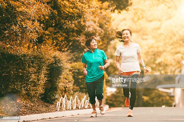Japanese senior women running