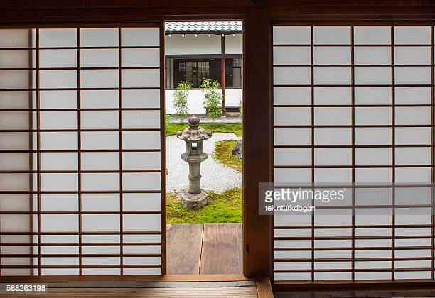 Japanese  shoji washi paper door at Chionji temple kyoto japan
