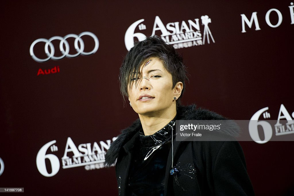 Japanese singer and actor Gackt poses backstage during the 6th Asian Film Awards, celebrating excellence in cinema, at Hong Kong Convention and Exhibition Center on 19 March 2012 in Hong Kong, China The event honours specifically filmmakers achievements in the field of Asian cinema, bringing together the best cinematic talent in Asia.