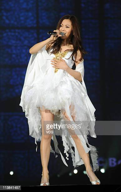 Japanese singer Mai Kuraki performs on the stage at the TGC Girls Collection 2011 at MasterCard Center on May 7 2011 in Beijing China