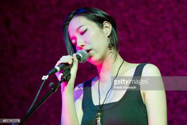Japanese singer Sapphire Slows performs live during a concert at the Haus der Berliner Festspiele on July 5 2014 in Berlin Germany
