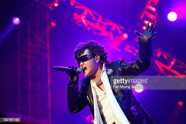 Japanese Singer Toshi of the band X Japan performs live during a concert at Olympic Gymnasium on October 28 2011 in Seoul South Korea