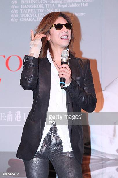 Japanese singer Yoshiki Hayashi of XJapan attends a press conference ahead of his concert at Humble House Hotel on Thursday June 122014 in TaipeiChina