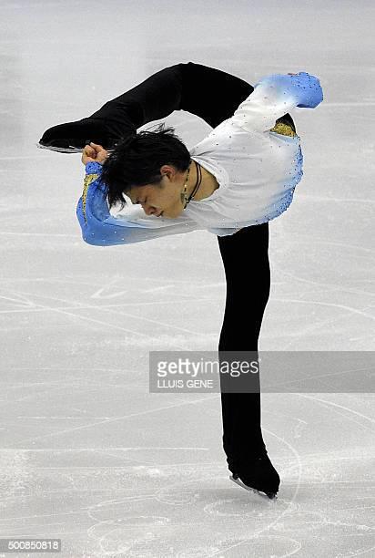 Japanese skater Yuzuru Hanyu competes during the Men Short program of the ISU Grand Prix of Figure Skating Final 2015 in Barcelona on December 10...