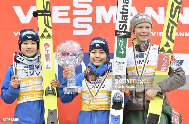 Japanese ski jumper Sara Takanashi poses for a photo in Oslo Norway on March 12 after finishing first in the World Cup overall rankings alongside...