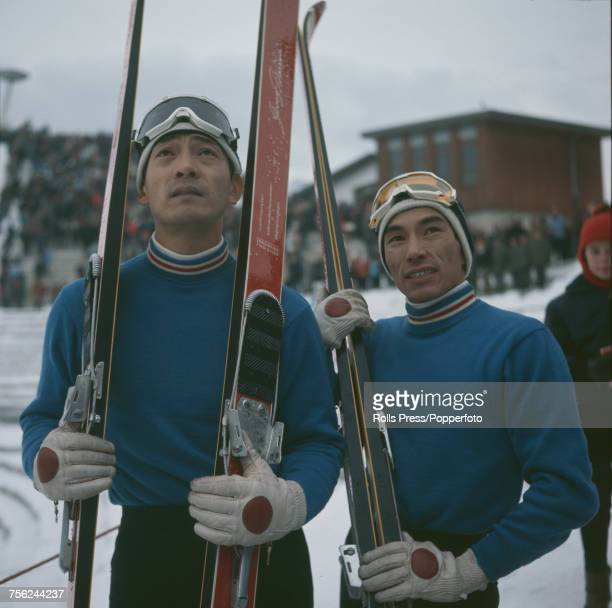 Japanese ski jumpers Yukio Kasaya and Takashi Fujisawa pictured together during competition in the 196970 Four Hills Tournament at Bergiselschanze...