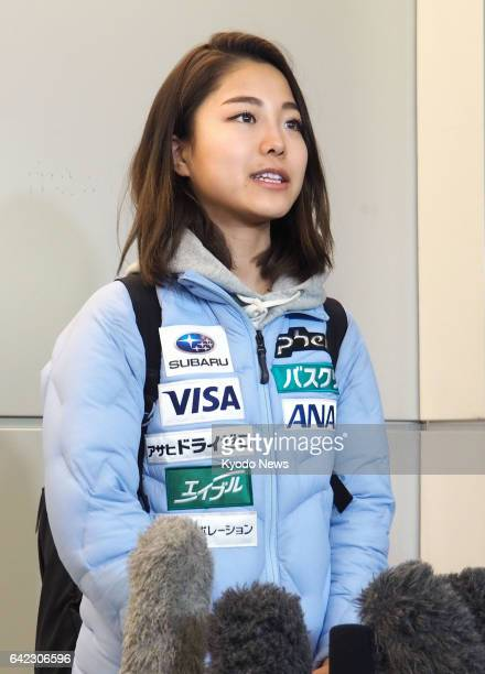 Japanese ski jumping superstar Sara Takanashi meets with reporters at Narita International Airport near Tokyo on Feb 17 after returning from...