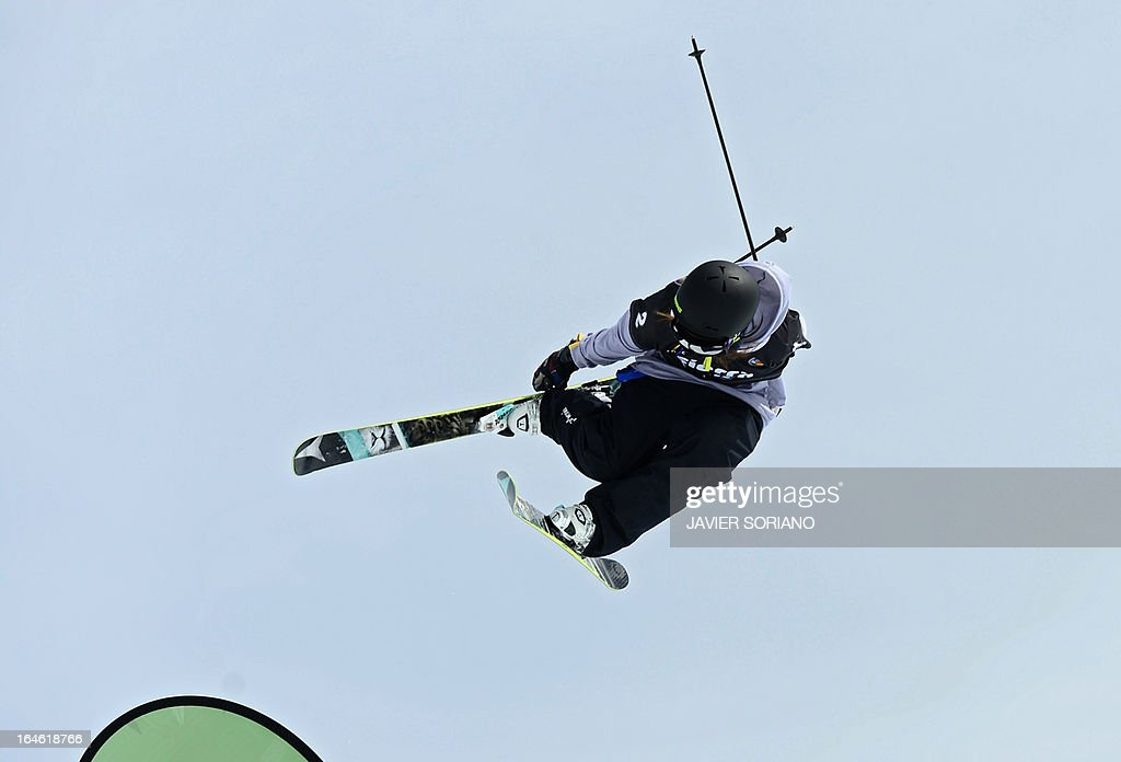 Japanese skier Ayana Onozuka competes in the Ladies' Half Pipe race at the Snowboard and FreeStyle World Cup Super finals at Sierra Nevada ski resort near Granada on March 25, 2013. Canadian skier Rosalind Groenewoud won the race ahead of Swiss skier Virginie Faivre and Japanese skier Ayana Onozuka.