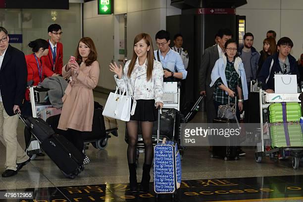 Japanese star Tomomi Itano arrives at the airport on Monday March 172014 in Hong KongChina