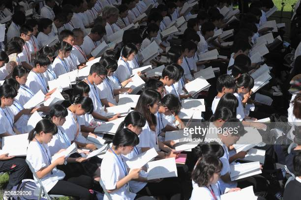 Japanese students attend the Hiroshima Peace Memorial Ceremony at the Hiroshima Peace Memorial Park on August 6 2017 in Hiroshima Japan Japan marks...