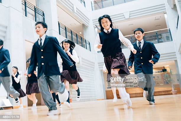 Japanese Students running to recess