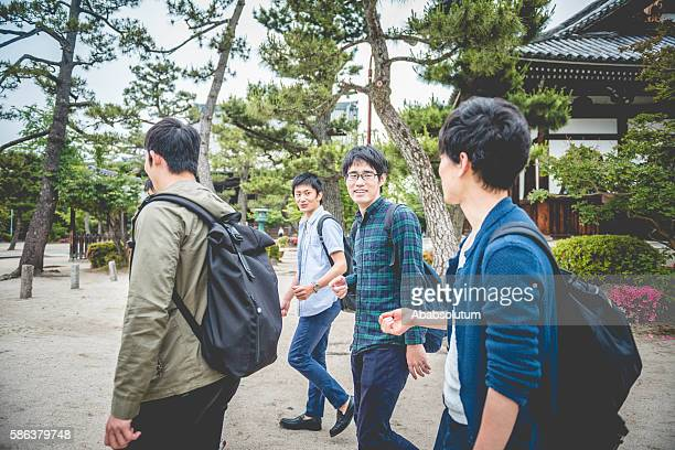 Japanese Students Walking in Chion-ji Temple Park, Kyoto, Japan, Asia