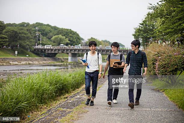 Japanese students walking to the university