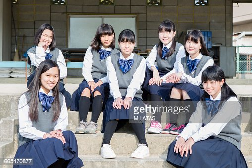 Japanese students who sit on stairs : Stock Photo