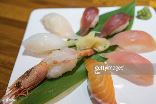 Japanese Sushi Set nigiri served in round plate