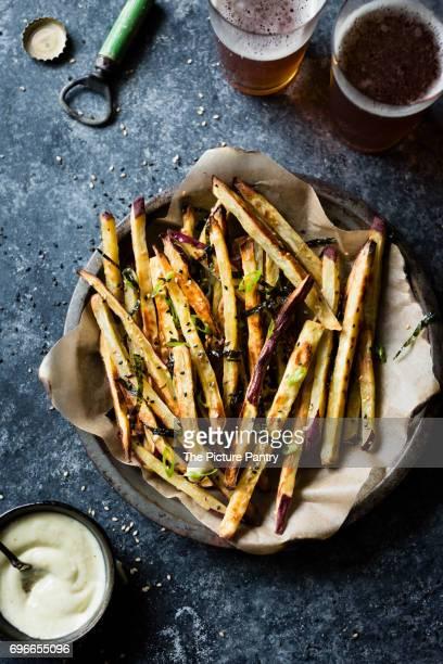 Japanese sweet potato oven fries with wasabi aioli
