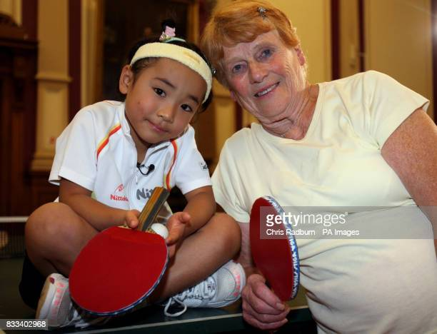 Japanese table tennis prodigy Mima Ito and Edna Fletcher a veteran table tennis champion after a table tennis match at Great Yarmouth Town Hall