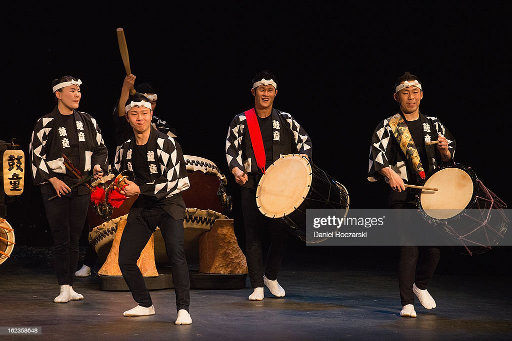 Japanese taiko drumming troupe Kodo performs at The Pabst Theater at on February 21, 2013 in Milwaukee, Wisconsin.