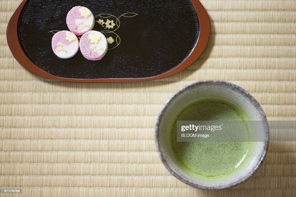 Japanese tea and sweets : Stock Photo