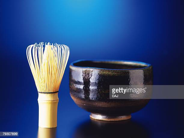 Japanese tea whisk and cup, Close Up