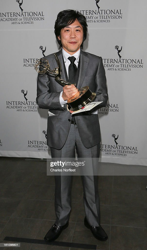 Japanese television director Hiroki Hayashi with the Kids; Series Emmy Award for 'Junior Hich School Diaries: Harmony of Two' attends The Inaugural International Emmy Kids Awards at The Lighthouse at Chelsea Piers on February 8, 2013 in New York City.