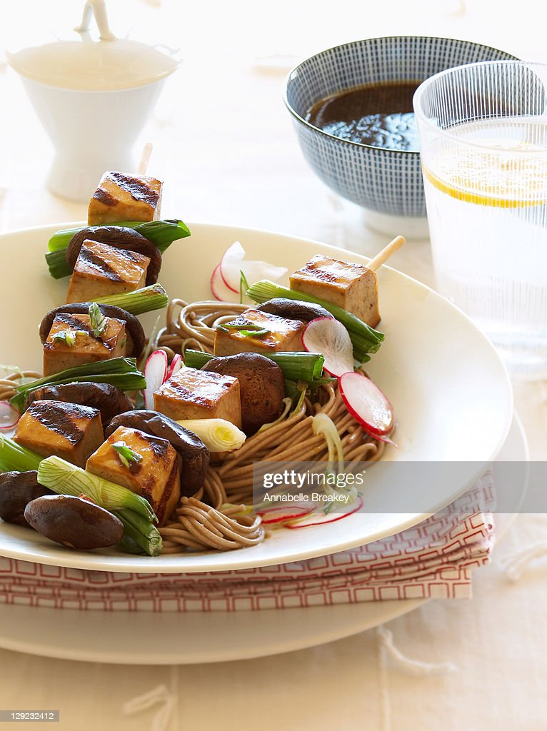 Japanese Tofu Skewers on Soba Noodles : Stock Photo