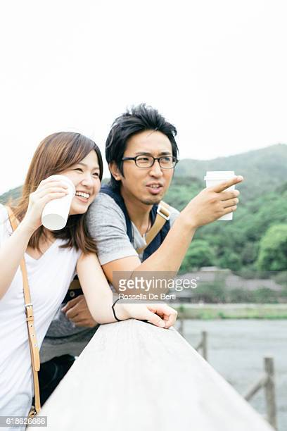 Japanese tourists enjoying time in the countryside