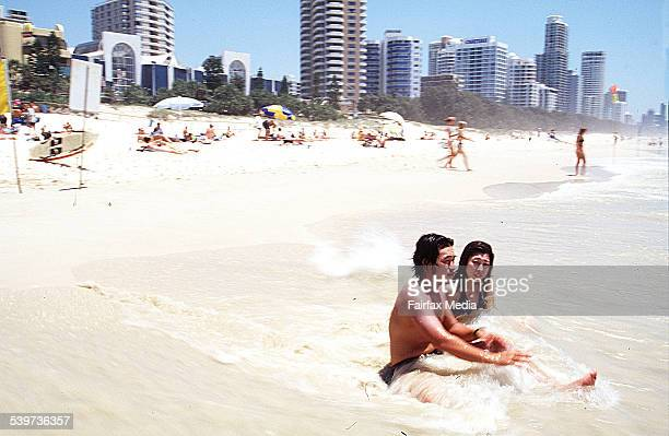 Japanese tourists relax on a Gold Coast beach Queensland 18 December 1997 AFR Picture by PHIL CARRICK