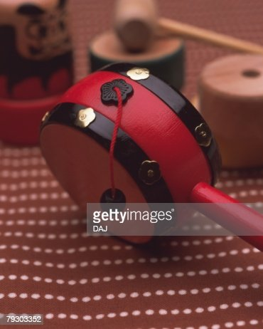 Japanese toy on fabric, high angle view, differential focus : Stock-Foto