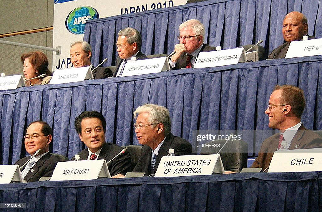 Japanese Trade Minister Masayuki Naoshima (front row/2nd R) answers questions while Japanese Foreign Minister Katsuya Okada (front row/2nd L) and other representatives look on during a joint press conference at the end of the two-day Asia-Pacific Economic Cooperation (APEC) forum in Sapporo, northern Japan, on June 6, 2010. Ministers from the Asia-Pacific nations said they had made 'significant progress' toward free-trade goals set in 1994 as they closed a two-day meeting in Japan. The trade talks in Hokkaido are the year's first ministerial meeting of the APEC forum ahead of the 21-member club's annual summit in Yokohama, southwest of Tokyo, in November. AFP PHOTO/Jiji Press