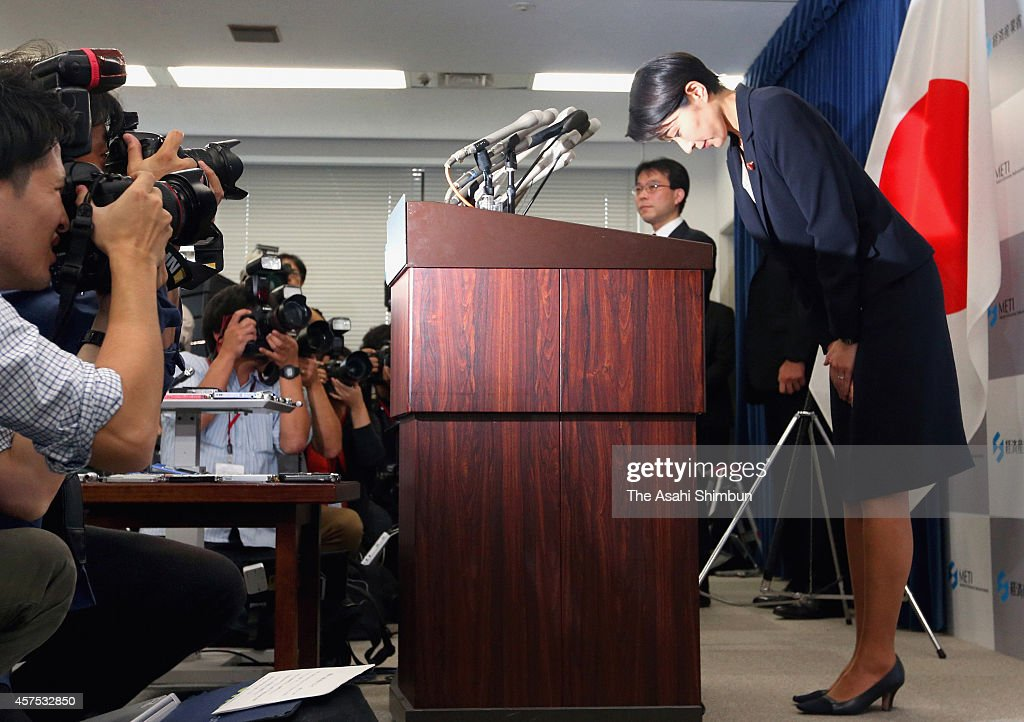 Japanese Trade Minister Yuko Obuchi bows for apology during her resignation press conference at the Trade Ministry on October 20, 2014 in Tokyo, Japan. Obuchi's downfall came shortly after reports surfaced that her political funds were used to buy theater tickets and meals for her supporters, a possible violation of election laws. The resignation of the two female ministers will deal a blow to Abe, who appointed five women to Cabinet positions in the September 3 reshuffle to show the government's commitment to promoting women's full participation in society.