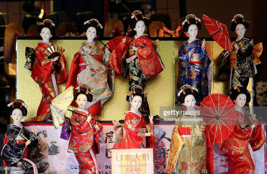Japanese traditional dolls are displayed inside a souvenir shop on July 5, 2014 in Kyoto, Japan. Kyoto has been named the world's best city in the U.S. magazine Travel + Leisure for 2014, according to its website. The former capital of Japan is known for old temples and shrines.