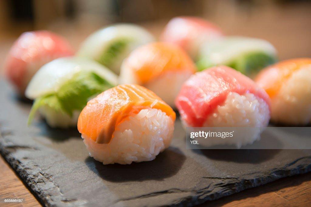 Japanese traditional food ?Temari sushi?.