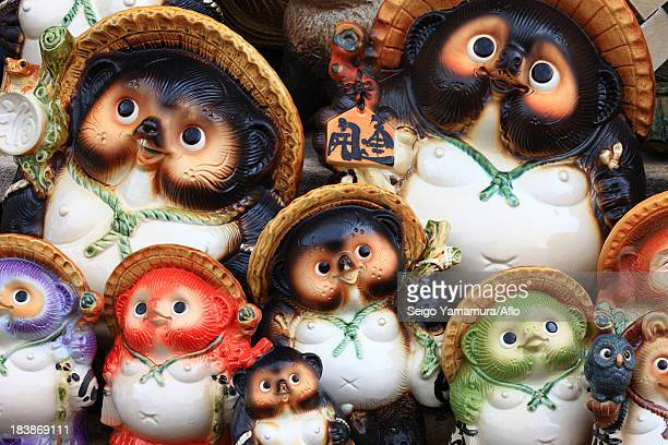 Japanese traditional raccoon statues