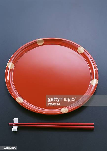 Japanese traditional tray and chopsticks