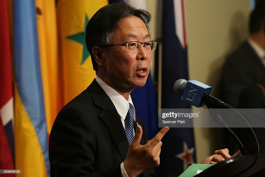 Japanese United Nations representative Motohide Yoshikawa makes comments to the media on the situation in North Korea following a Security Council closed-door meeting to discuss the next steps at the United Nations on January 6, 2016 in New York City. North Korea claimed yesterday to have successfully tested a hydrogen bomb.
