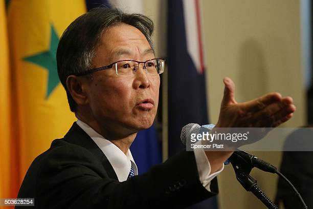Japanese United Nations representative Motohide Yoshikawa makes comments to the media on the situation in North Korea following a Security Council...