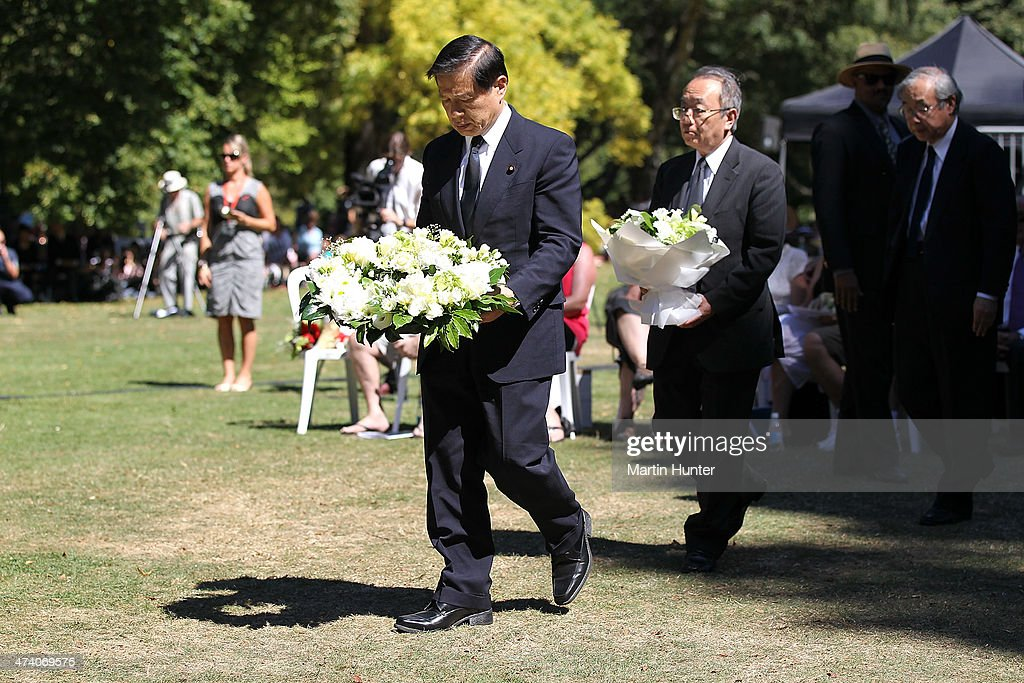 Japanese Vice-Minister of Foreign Affairs Mr Norie Matsuya lays a wreath during a Civic Memorial Service held in the Botanical Gardens for victims of the 2011 Christchurch Earthquakes on February 22, 2014 in Christchurch, New Zealand. The earthquake measuring 6.3 in magnistude devastated Christchurch killing 185 people and causing an estimated $40 billion in damage to the city's buildings and infrastructure.