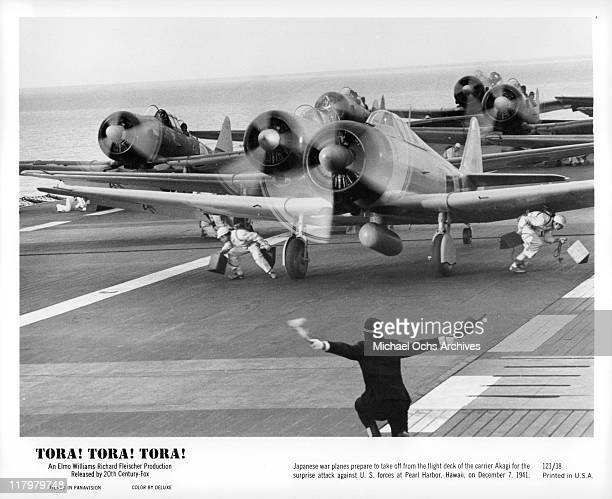 Japanese War planes take off from carrier Akagi in a scene from the film 'Tora Tora Tora' 1970