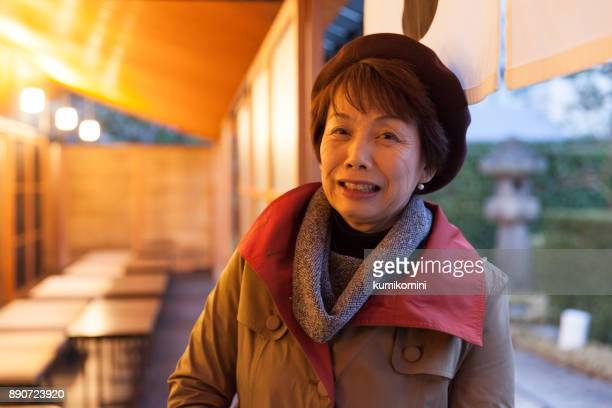 Japanese woman at a traditional cafe