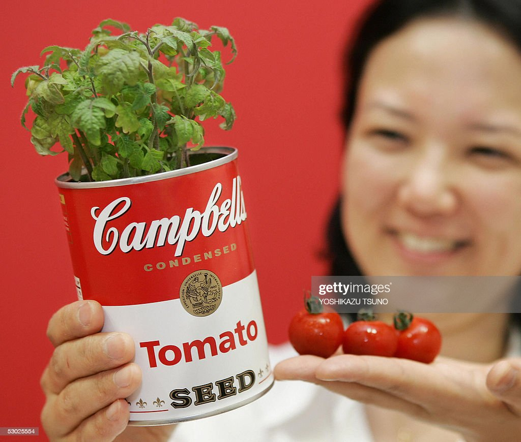 A Japanese woman displays a canned plant shaped like a Campbell's soup can, 'Campbell's Seed', priced 997 yen (9.25 USD), in Tokyo 06 June 2005. Tokyo based flower venture World Flower service launched three types of canned vegetable plants, tomatoes, pumpkins and green peas, containing seads and special potting compost. AFP PHOTO / Yoshikazu TSUNO