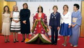 A Japanese woman dressed in an ancient kimono poses with from LR Margarida Sousa Uva wife of EU Commission Chairman Jose Manuel Barroso Laureen...