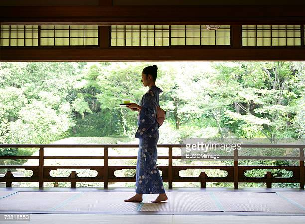 A Japanese woman dressed in yukata