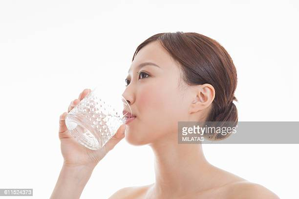 Japanese woman drinking water